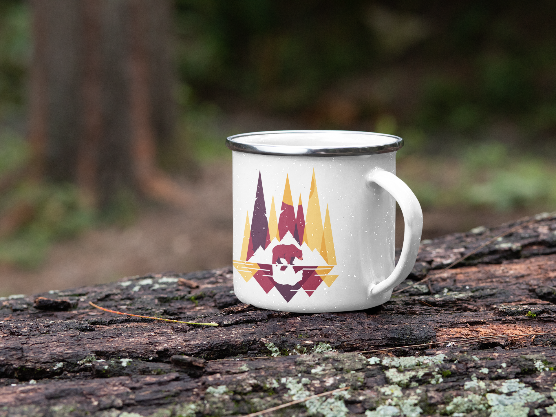 mockup-of-a-silver-rim-enamel-mug-placed-on-a-log-in-the-woods-30819